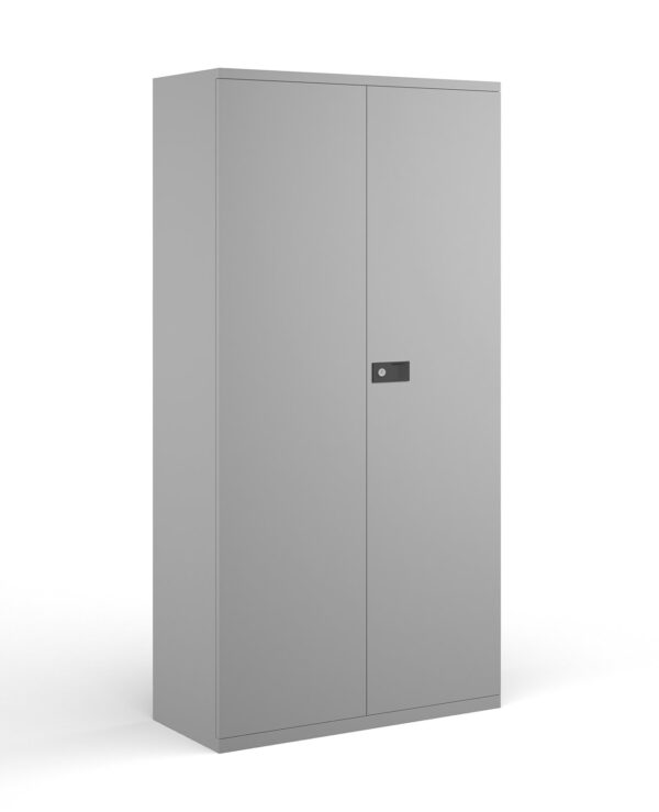 Steel contract cupboard with 4 shelves 1968mm high - goose grey - Furniture