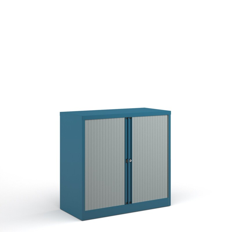 Bisley systems storage low tambour cupboard 1000mm high - blue - Furniture