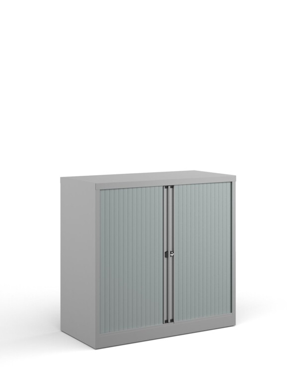Bisley systems storage low tambour cupboard 1000mm high - goose grey - Furniture