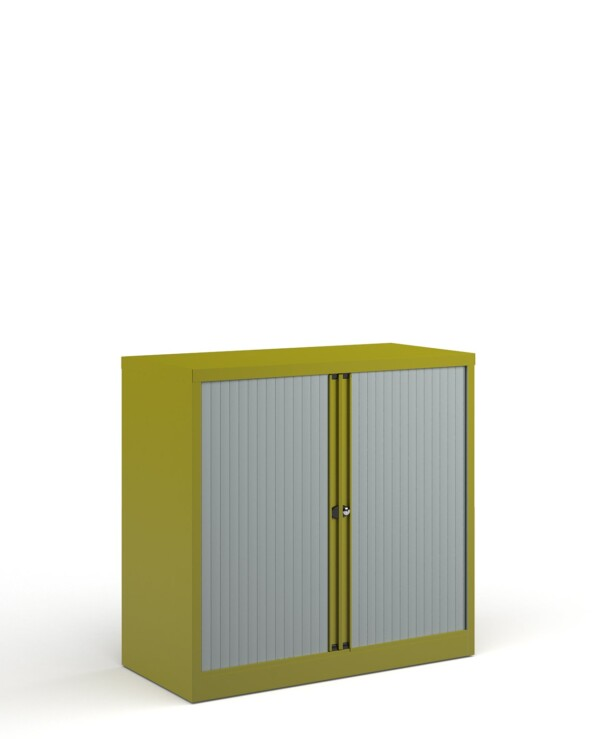 Bisley systems storage low tambour cupboard 1000mm high - green - Furniture
