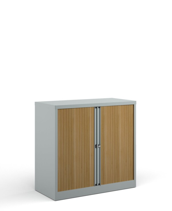 Bisley systems storage low tambour cupboard 1000mm high - silver with beech doors - Furniture