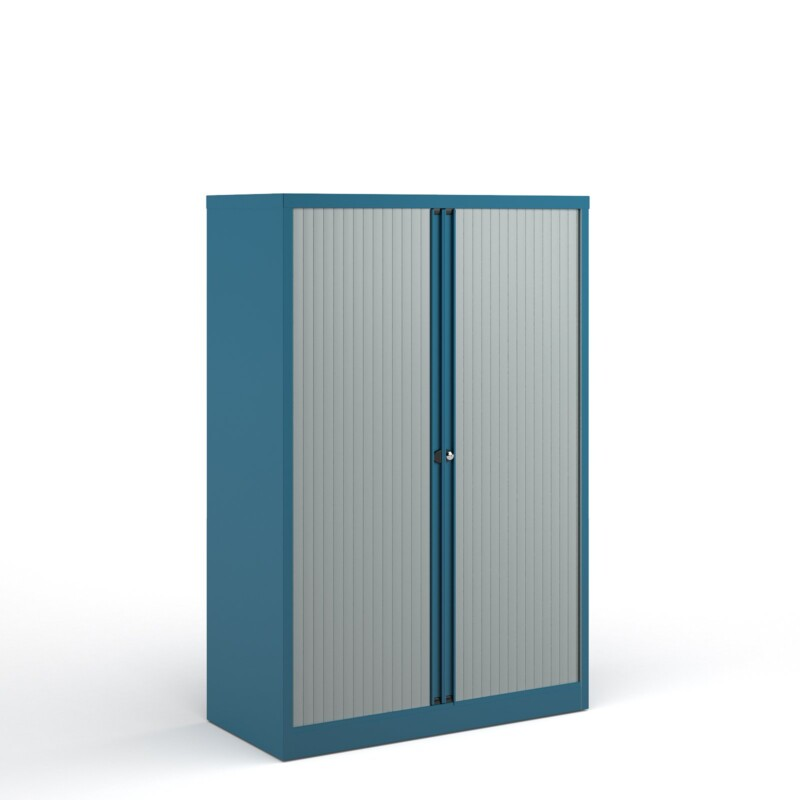 Bisley systems storage medium tambour cupboard 1570mm high - blue - Furniture