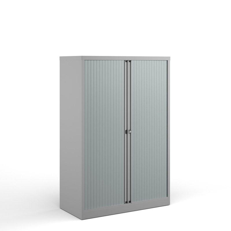 Bisley systems storage medium tambour cupboard 1570mm high - goose grey - Furniture