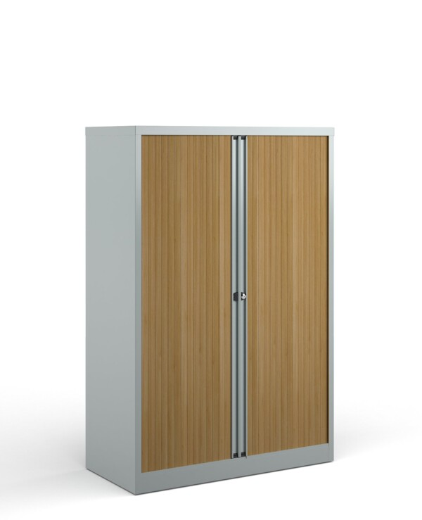 Bisley systems storage medium tambour cupboard 1570mm high - silver with beech doors - Furniture