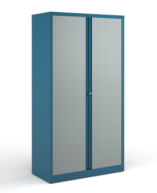 Bisley systems storage high tambour cupboard 1970mm high - blue - Furniture