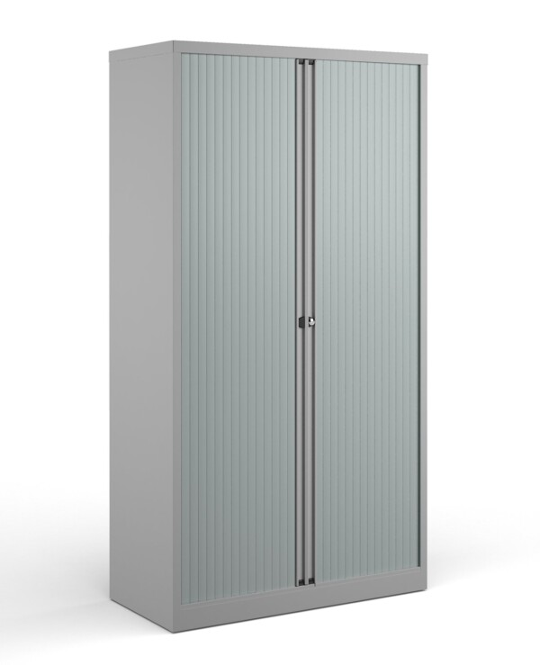 Bisley systems storage high tambour cupboard 1970mm high - goose grey - Furniture