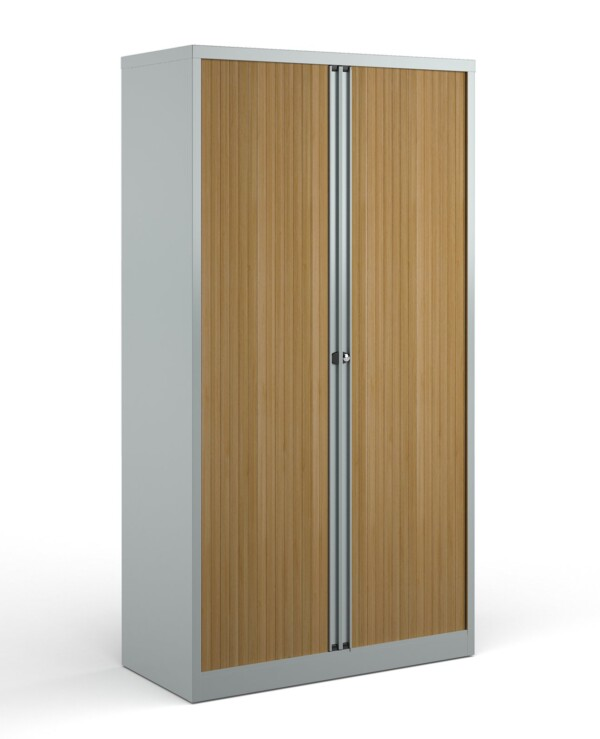 Bisley systems storage high tambour cupboard 1970mm high - silver with beech doors - Furniture