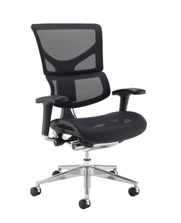 Dynamo Ergo mesh back posture chair with chrome base - black - Furniture