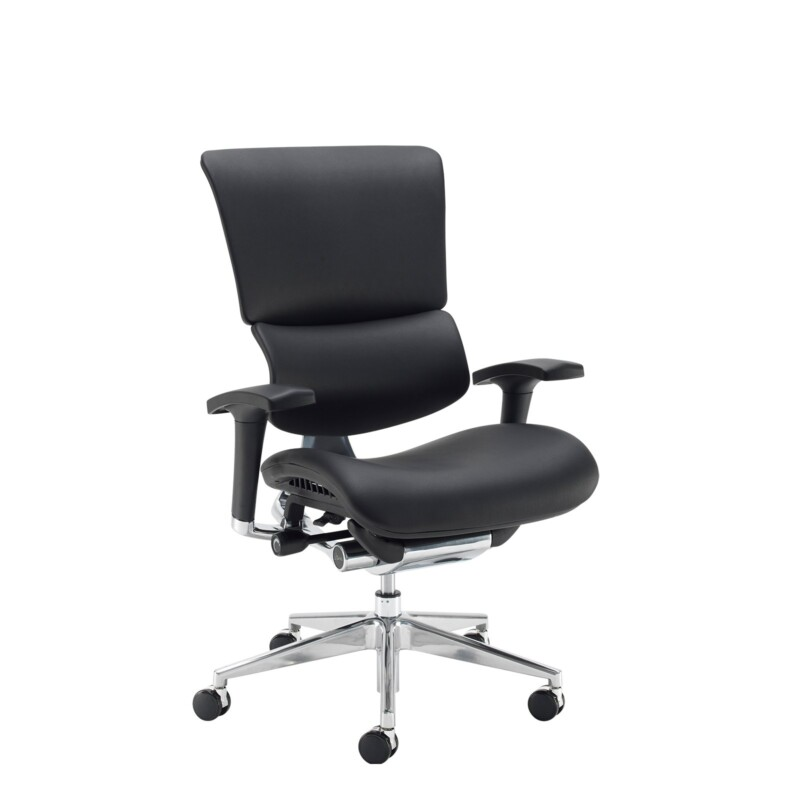 Dynamo Ergo leather posture chair with chrome base - black - Furniture