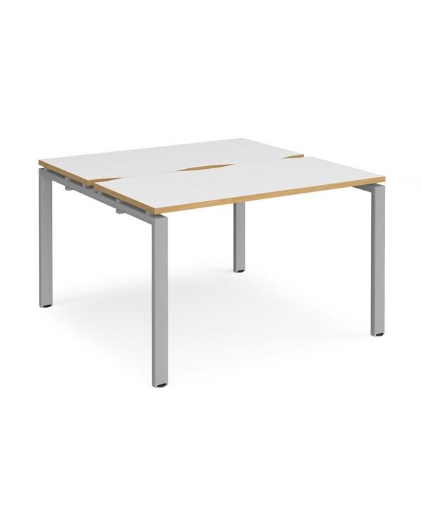Adapt starter units back to back 1200mm x 1200mm - black frame, white top with oak edging - Furniture