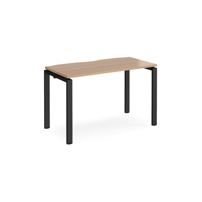 Adapt single desk 1200mm x 600mm - black frame, beech top - Furniture