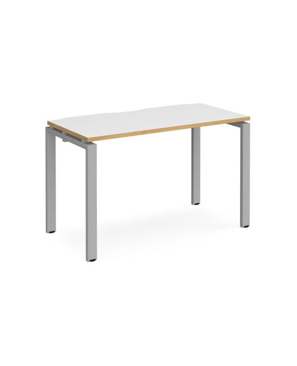 Adapt single desk 1200mm x 600mm - black frame, white top with oak edging - Furniture