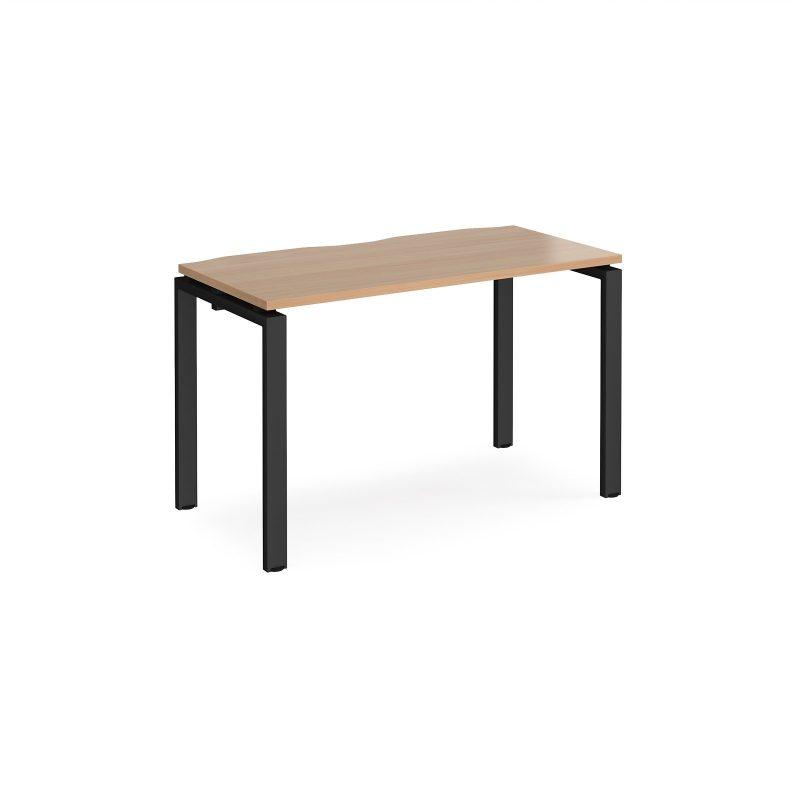 Adapt starter unit single 1200mm x 600mm - black frame, beech top - Furniture