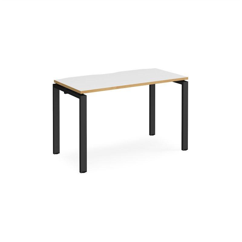 Adapt starter unit single 1200mm x 600mm - black frame, white top with oak edging - Furniture