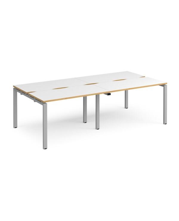 Adapt double back to back desks 2400mm x 1200mm - black frame, white top with oak edging - Furniture