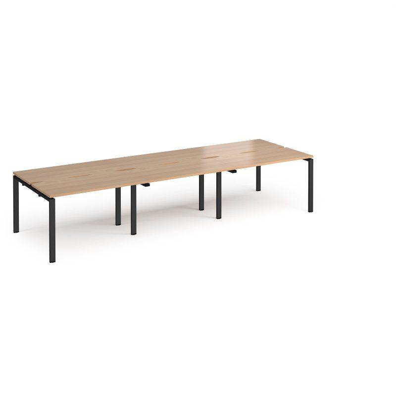 Adapt triple back to back desks 3600mm x 1200mm - black frame, beech top - Furniture