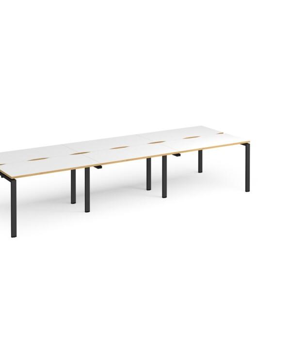 Adapt triple back to back desks 3600mm x 1200mm - black frame, white top with oak edging - Furniture