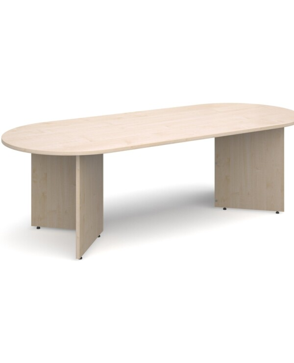 Arrow head leg radial end boardroom table 2400mm x 1000mm - maple - Furniture