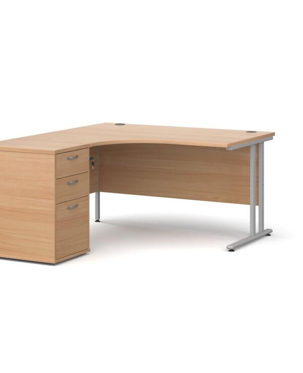 Maestro 25 left hand ergonomic desk 1400mm with black cantilever frame and desk high pedestal - beech - Furniture