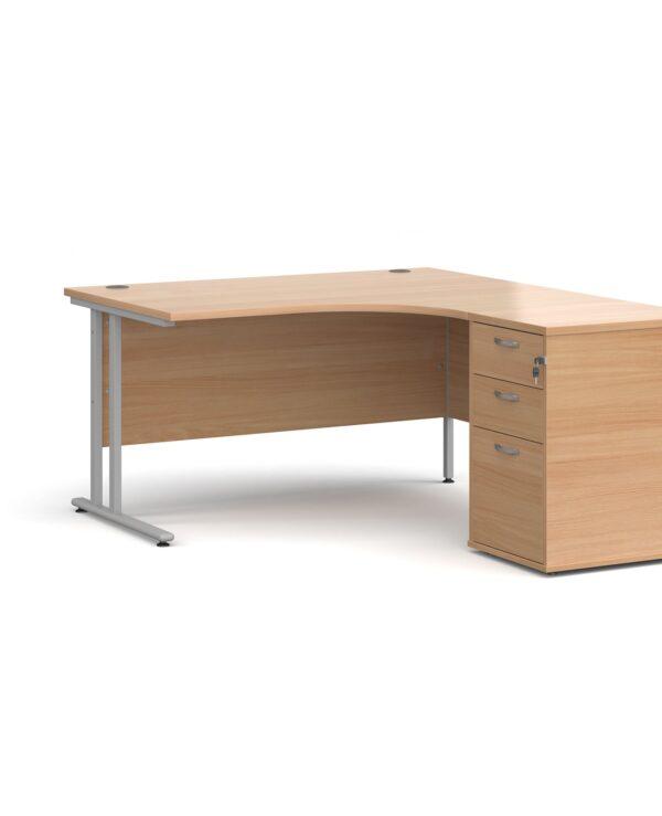 Maestro 25 right hand ergonomic desk 1400mm with black cantilever frame and desk high pedestal - beech - Furniture