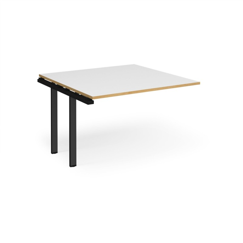 Adapt boardroom table add on unit 1200mm x 1200mm - black frame, white top with oak edging - Furniture