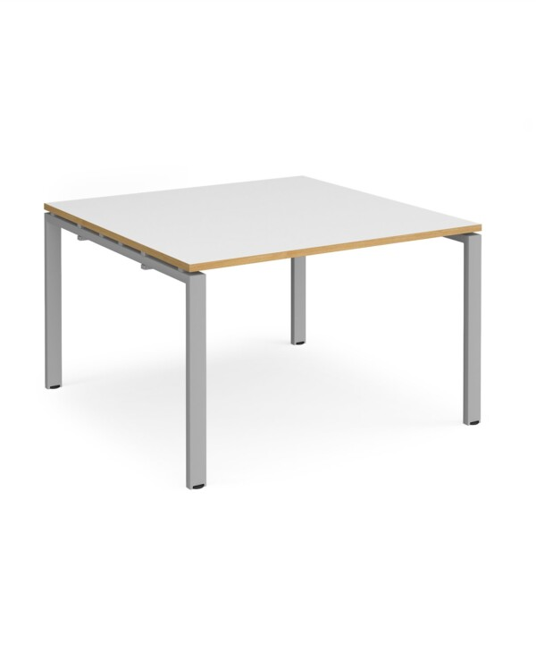 Adapt square boardroom table 1200mm x 1200mm - black frame, white top with oak edging - Furniture
