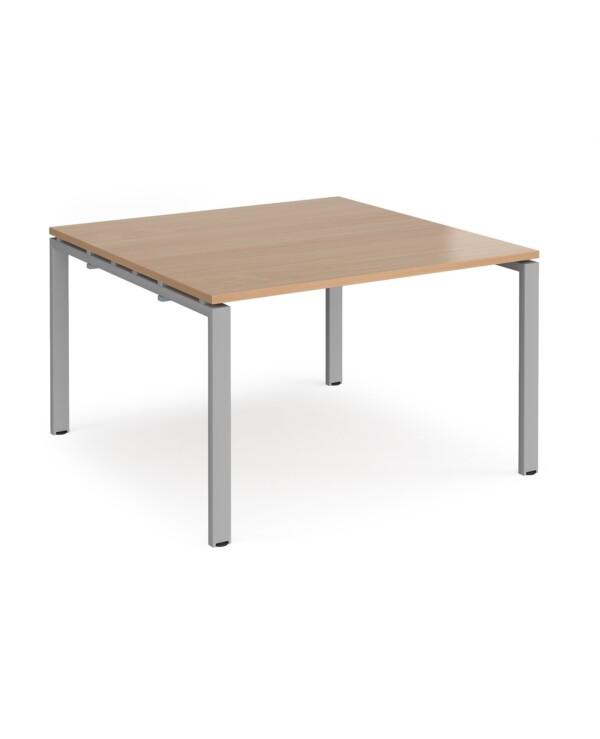 Adapt boardroom table starter unit 1200mm x 1200mm - black frame, beech top - Furniture