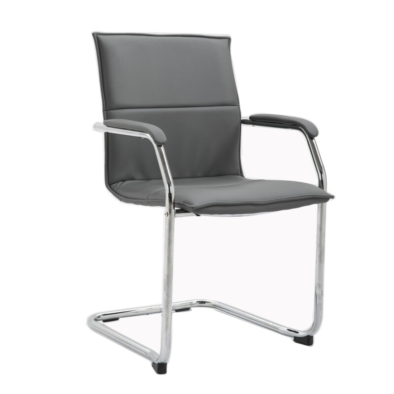 Essen stackable meeting room cantilever chair - grey faux leather - Furniture