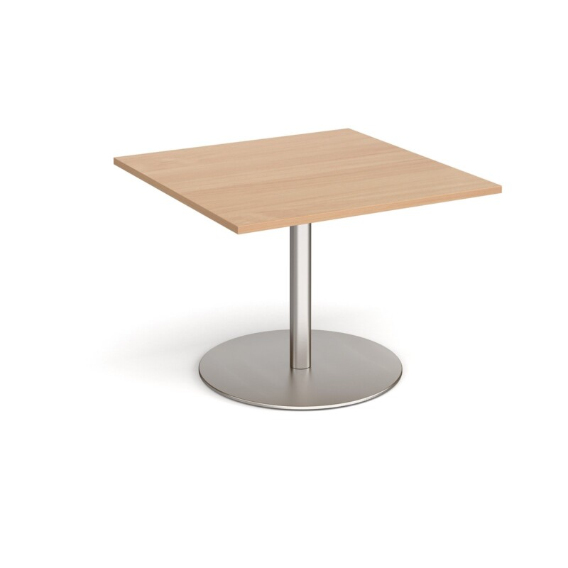 Eternal square extension table 1000mm x 1000mm - brushed steel base, beech top - Furniture