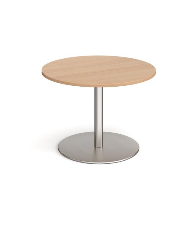 Eternal circular boardroom table 1000mm - brushed steel base, beech top - Furniture