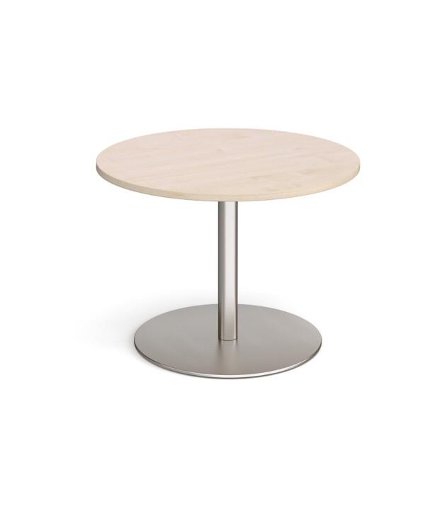 Eternal circular boardroom table 1000mm - brushed steel base, maple top - Furniture