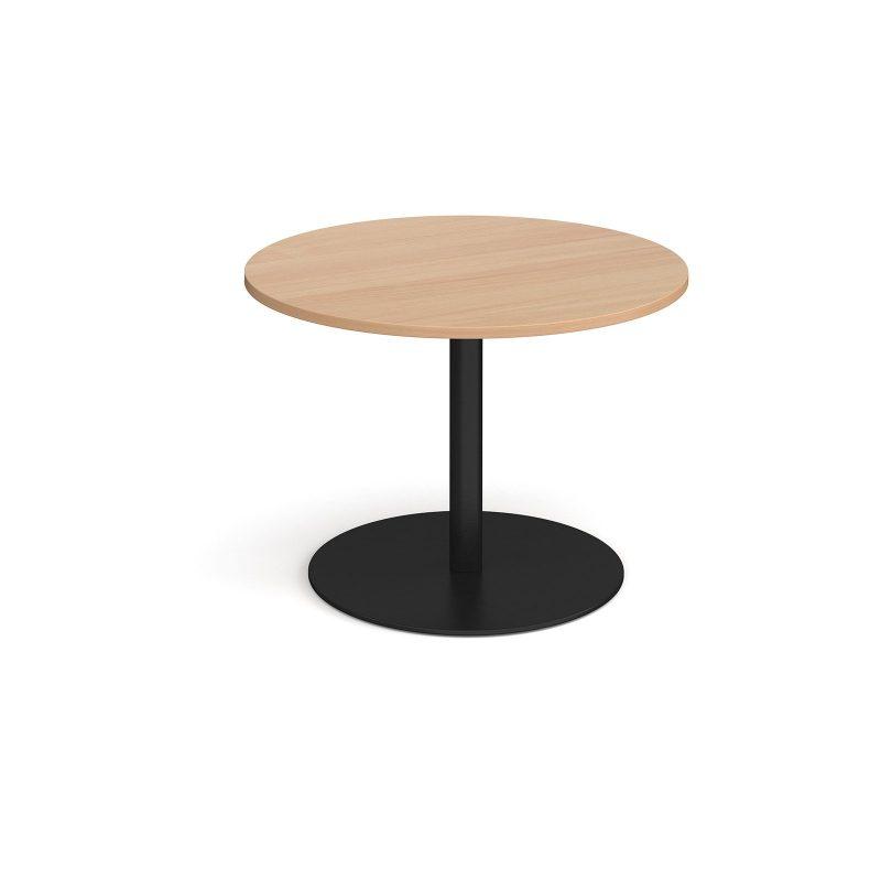 Eternal circular boardroom table 1000mm - black base, beech top - Furniture