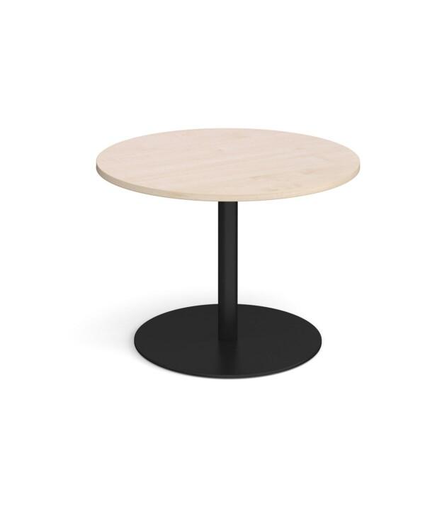 Eternal circular boardroom table 1000mm - black base, maple top - Furniture