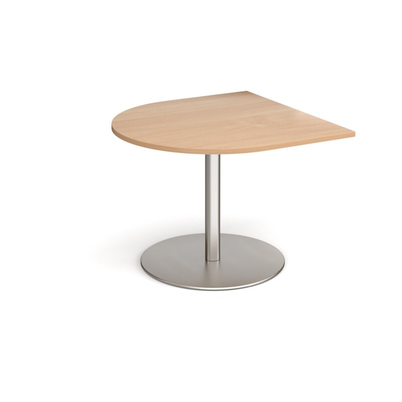 Eternal radial extension table 1000mm x 1000mm - brushed steel base, beech top - Furniture