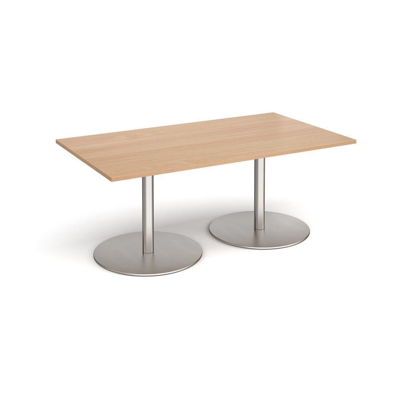 Eternal rectangular boardroom table 1800mm x 1000mm - brushed steel base, beech top - Furniture