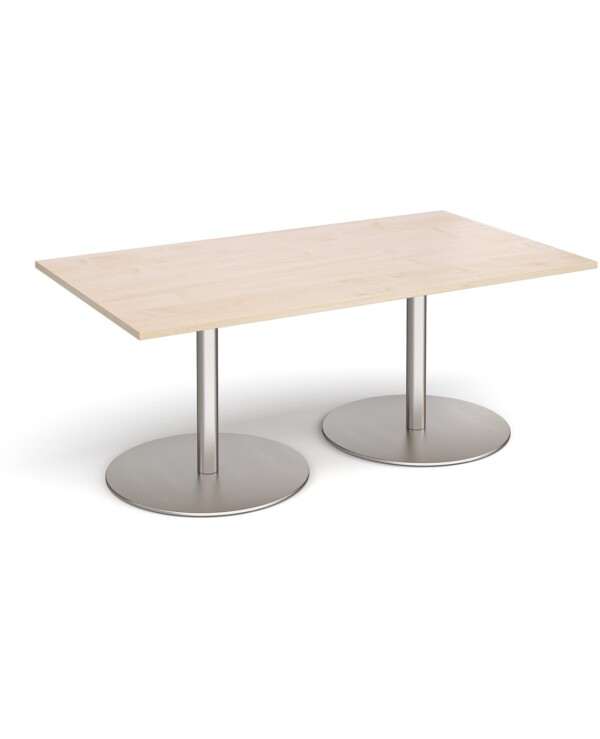 Eternal rectangular boardroom table 1800mm x 1000mm - brushed steel base, maple top - Furniture