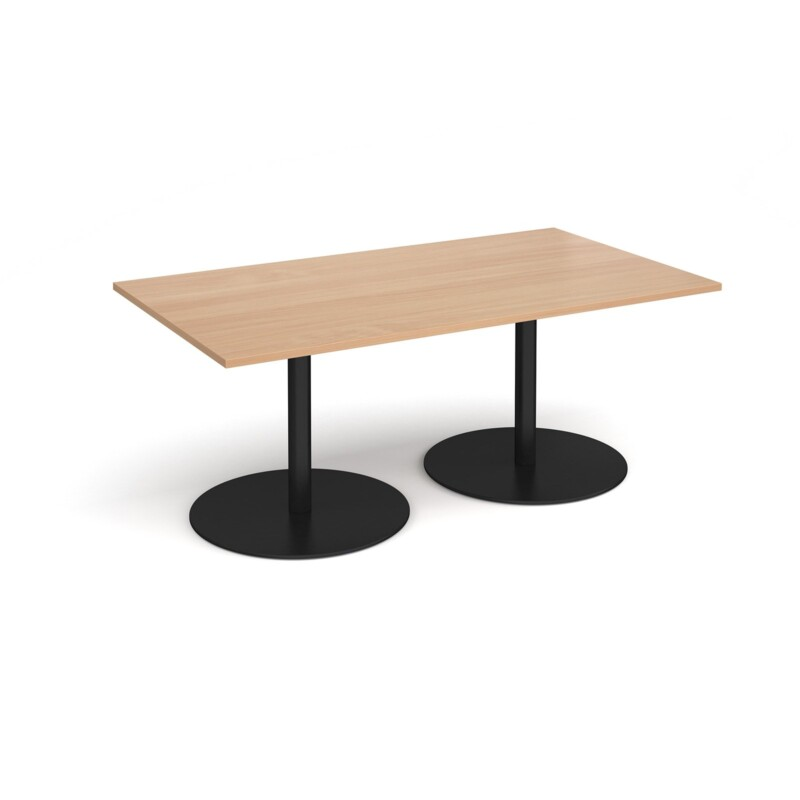 Eternal rectangular boardroom table 1800mm x 1000mm - black base, beech top - Furniture