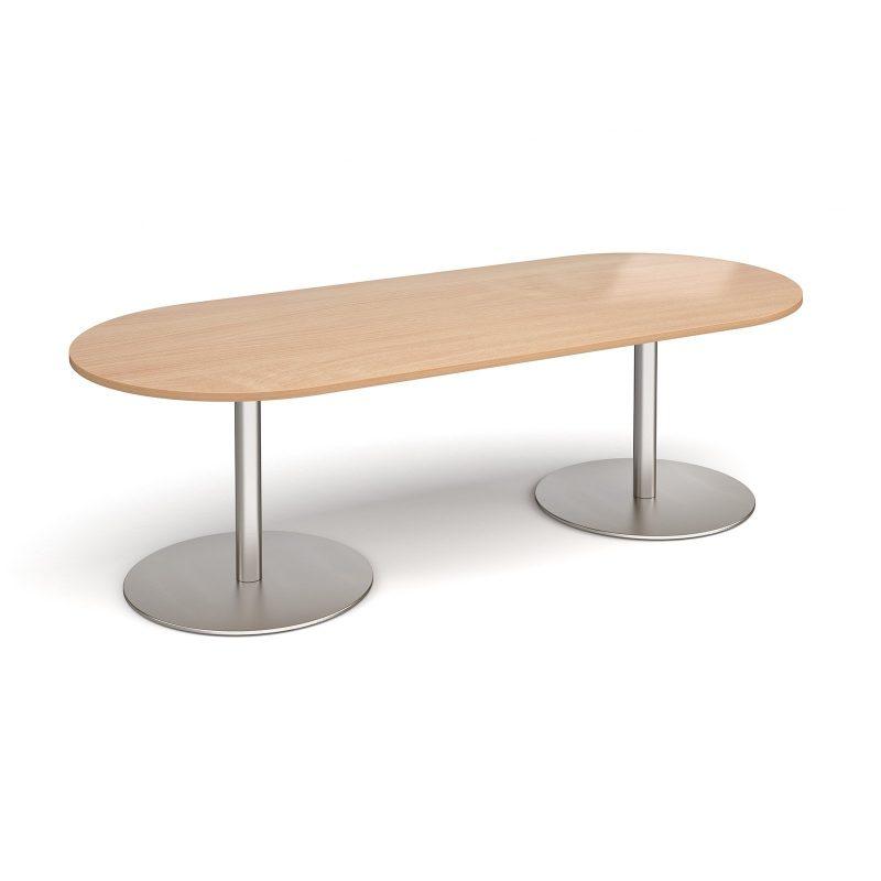 Eternal radial end boardroom table 2400mm x 1000mm - brushed steel base, beech top - Furniture