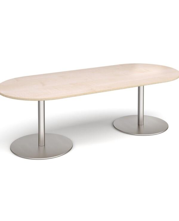 Eternal radial end boardroom table 2400mm x 1000mm - brushed steel base, maple top - Furniture