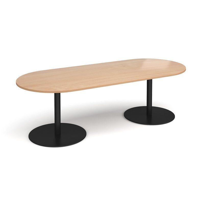 Eternal radial end boardroom table 2400mm x 1000mm - black base, beech top - Furniture