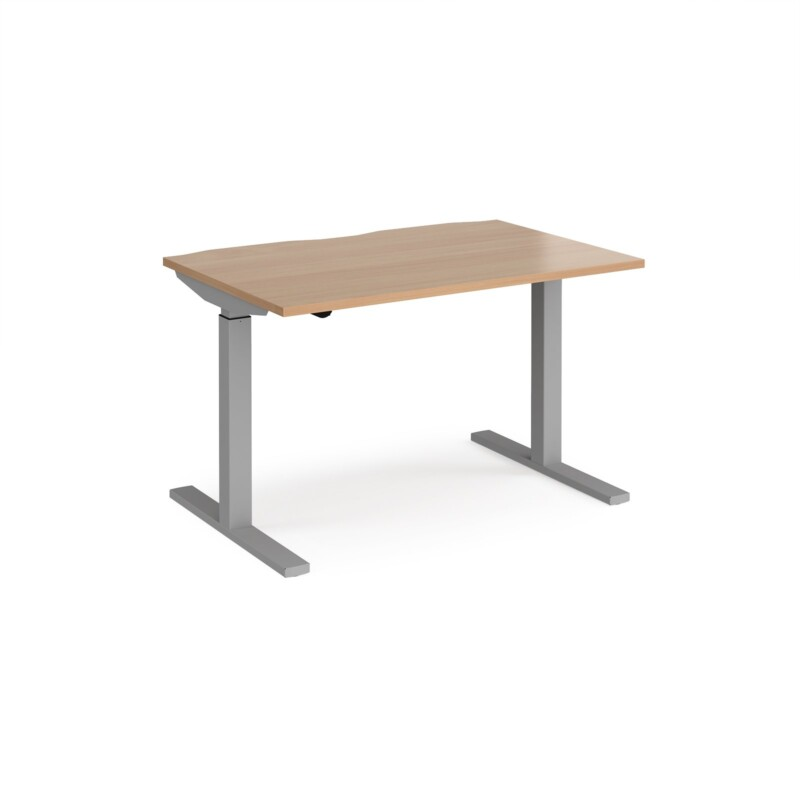 Elev8 Mono straight sit-stand desk 1200mm x 800mm - silver frame, beech top - Furniture