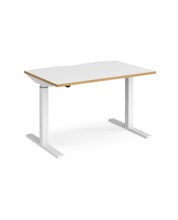 Elev8 Mono straight sit-stand desk 1200mm x 800mm - silver frame, white top with oak edge - Furniture