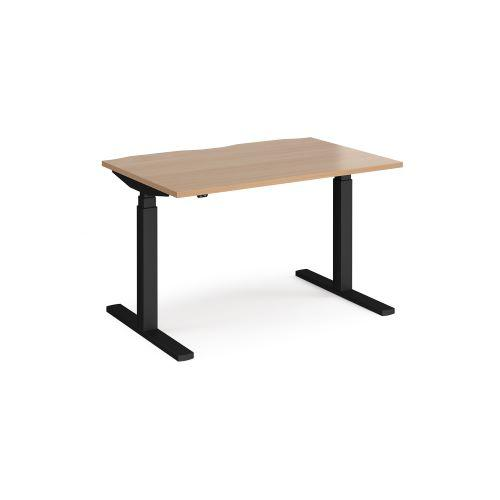 Elev8 Touch straight sit-stand desk 1200mm x 800mm - black frame, beech top - Furniture