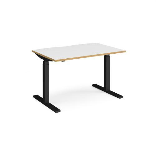 Elev8 Touch straight sit-stand desk 1200mm x 800mm - black frame, white top with oak edge - Furniture