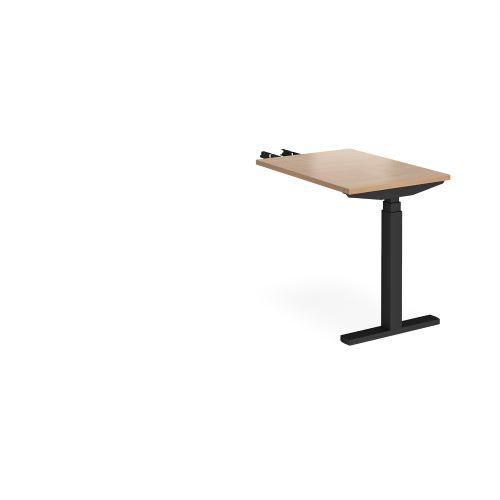 Elev8 Touch sit-stand return desk 600mm x 800mm - black frame, beech top - Furniture