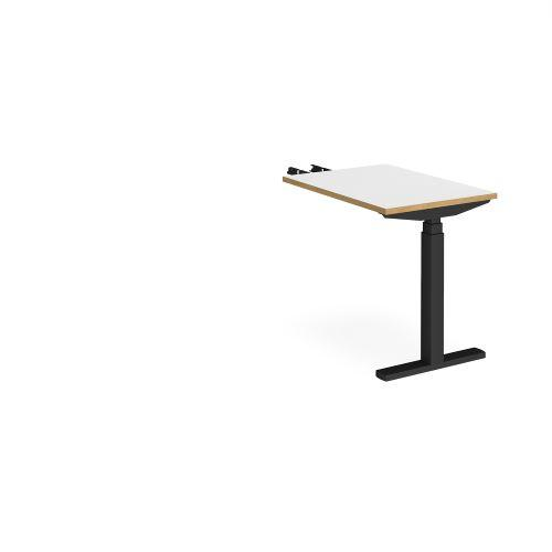 Elev8 Touch sit-stand return desk 600mm x 800mm - black frame, white top with oak edge - Furniture