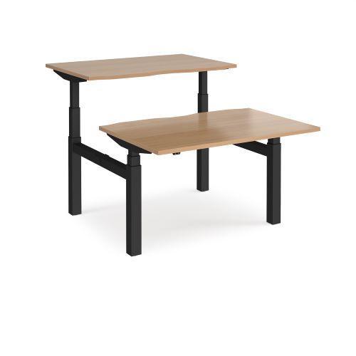 Elev8 Touch sit-stand back-to-back desks 1200mm x 1650mm - black frame, beech top - Furniture