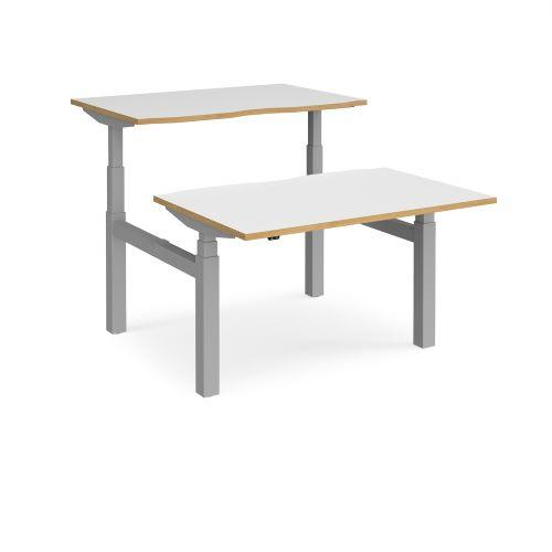 Elev8 Touch sit-stand back-to-back desks 1200mm x 1650mm - black frame, white top with oak edge - Furniture