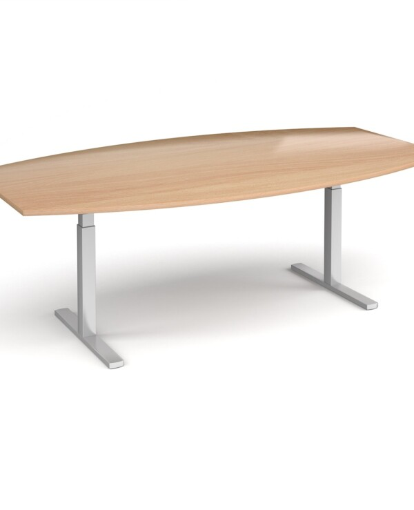 Elev8 Touch radial boardroom table 2400mm x 800/1300mm - black frame, beech top - Furniture