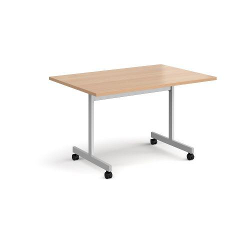 Rectangular fliptop meeting table with silver frame 1200mm x 800mm - beech - Furniture